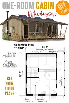 Small and tiny Home plans with cost to build - One Room Cabin Plans Madison Why would you waste money on rent when you can build your very own house? Small home plans with cost to build,… Small Cabin Plans, Cabin Floor Plans, Small House Plans, Small Cabins, The Plan, How To Plan, Tyni House, Story House, One Room Cabins