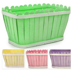 Easter Baskets - take paper strips and glue to cardboard box, add a handle and done! cute for decorations