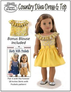 Forever 18 Inches Country Diva Dress & Top 18 inch Doll clothes pattern. This versatile dress features a lined princess-seamed bodice and a lined and freestanding gathered skirt.