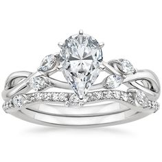 18K White Gold Willow Diamond Ring with Luxe Willow Diamond Wedding Ring (1/3 ct. tw.), top view