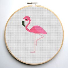 Flamingo is a pattern, not the completed work.  I designed it myself.  On 14-count aida the design measures 3.3*4.9 inches. Sizes will change
