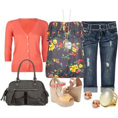 """""""peach and yellow"""" by sandreamarie on Polyvore"""