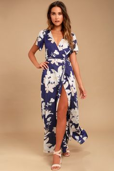 1f00574e8cd Azalea Regalia Navy Blue Floral Print Wrap Maxi Dress. Lulus