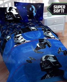 Star Wars Darth Vader Twin Bedding Comforter Lucasfilm, Ltd,http://www.amazon.com/dp/B006LU8XHK/ref=cm_sw_r_pi_dp_qhHHtb0WB5R203D0. Blues would go great with grey walls and the navy blue curtains.
