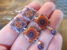 La Estrella Mexican Tile Quilt Tapestry Earrings by FayWestDesigns on Etsy