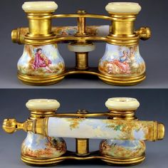 Antique French Le Fils Enamel & Mother of Pearl Opera Glasses