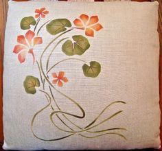 Stenciled Nasturtium Pillow Art Nouveau, Arts and Crafts Flower Colouring In, Stencil Designs, Wallpaper Designs, Art Nouveau Flowers, Feather Pillows, Mothers Day Crafts, Etsy Crafts, Arts And Crafts Movement, Craftsman Style