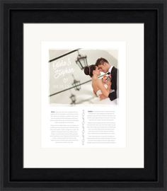 Large wedding photo and space for two sets of wedding vows.  Customized with your photos, text, and colors and in a beautiful wood frame.