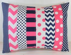 Pillow Cover, Baby Girl Nursery Decor, Bedroom Throw Pillow, Chevron Pillow Cover, Navy Blue Chevron, Hot Bright Pink Chevron,12 x 16 Inches...