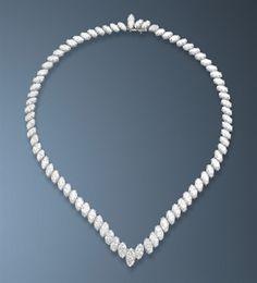Diamond Necklace - by Boucheron - graduated marquise-cut diamonds - $115,134 at auction