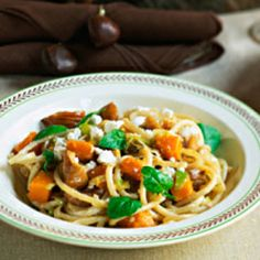 If you love pasta, but you're tired of eating the same old spaghetti with tomato sauce, try this recipe. The unique combination of roasted pumpkin, walnuts, and sage create a colorful and delicious dish. Another bonus — two of three Bauer kids like it! Veggie Recipes, Fall Recipes, Pasta Recipes, Vegetarian Recipes, Healthy Recipes, Healthy Foods, Yummy Recipes, Joy Bauer Recipes, Clean Eating Pasta