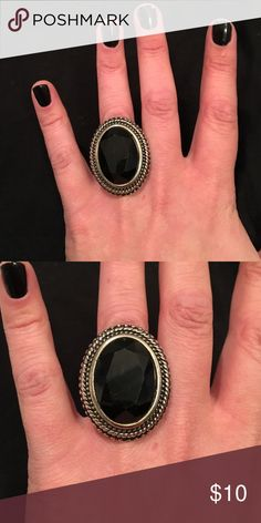 ◾️Oversized Onyx Cocktail Ring◾️  Oversized oval onyx ring in tarnished metallic setting Jewelry Rings
