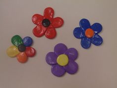 Handmade Polymer Clay Flower Magnets available at yumjellydonuts.etsy.com