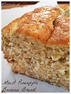 Moist Pineapple Banana Bread - cup butter, softened 1 cup sugar 2 eggs cup mashed ripe banana cup drained crushed pineapple cup flaked coconut 2 cups all-purpose flour 1 teaspoon baking powder teaspoon baking soda teaspoon salt. Bake at 350 for min. Pineapple Banana Bread Recipe, Banana Bread Recipes, Pineapple Coconut, Banana Coconut, Coconut Flour, Just Desserts, Delicious Desserts, Dessert Recipes, Yummy Food