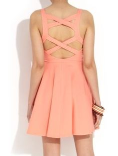 Inspiration // Criss Cross Back Coral ♥ #dainty #sexyback #crossback #crisscross #coral #skater #dress #fashion2013 #ootd