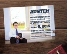 LDS Baptism Invitation - Boy's Modern Baptismal Invitation DIY Printable
