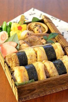 Inarizushi Bento (Japanese-Style Lunch Box with Tofu Bag Sushi)