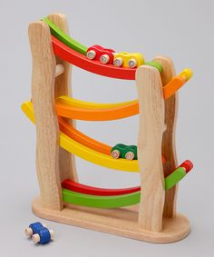 Rainbow Slope by Pintoy: Watch the cars swoop and flip. Made of sustainable rubber wood. On sale $34.99. #Toy #Pintoy #Rainbow_Slope