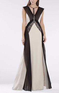 858769f4942718 BCBG Max Azria Lightstone Co Jenelle Lace Contrast Gown Sil68d07 l365a Sz  XS