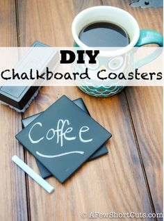 Fun craft project to keep or give as gifts. Check out these simple DIY Chalkboard Coasters.  I love fun crafts you can make for Christmas & more!