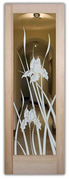 interior doors with glass etching sandblasted glass English country decor flowers plants iris sans soucie