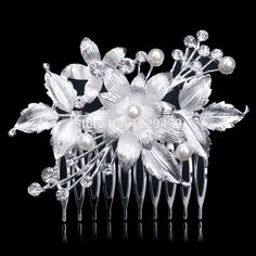 Silver Plated Beautiful Leaf Flower Design Wedding Tiara Diamante Crystal  Pearl… Bridal Hair Pins 22ed134843ac