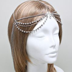 Bohemian Silver Clear Crystal Head Chain Headpiece, Grecian headchain, House Of Harlow Style Gypsy head jewelry, Wedding Headchain
