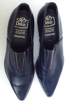 Mens vintage leather shoes BLUE pointed slip on size 7 DOLCIS Fosdyke British