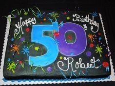 50th birthday cake for man sheet cake mans sheet cake blue orange