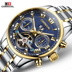 84.34$  Buy now - http://alibil.worldwells.pw/go.php?t=32769288849 - Men Luxury Top Brand Carnival Multifunction 6 Hands Mechanical Watch Fashion business Sapphire sport casual Wristwatch relogio 84.34$