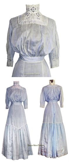 Day dress ca. early 1900s. Cotton and lace. Dots on the blue cotton have faded. pentiques/eBay