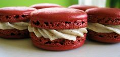 Red velvet macaroons - MUST try these soon! Would be a fantastic addition to my macaroon flavour offerings