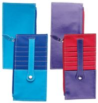 "Color Blocked Card Holder  $7.99 Leatherlike and nylon organizer. Side-zip cash pocket credit card slots with secure snap-close strip. 7"" L x 3"" W."