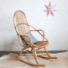 Rocking chair rotin '50