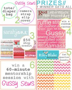 have you entered this MASSIVE giveaway? including prizes from Red Letter Words, Sarah Jane Studios, Riley Blake and Gussy Sews -- yeow!     over 450$ in prizes, click the image to enter!
