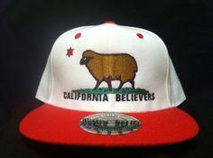 California Believers Sheep California Flag Design Baseball Cap | Bear Flag Museum