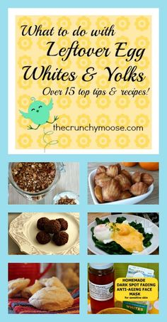 What to do with leftover egg whites & yolks! 15 tips and recipes. Egg Recipes, Kitchen Recipes, Kitchen Tips, Whole Food Recipes, Food Tips, Food Hacks, Cooking Tips, Soda Stream Recipes, Gourmet