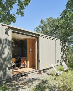 Modern home with Exterior, Metal Roof Material, Metal Siding Material, Shipping Container Building Type, and Flat RoofLine. Photo 12 of Container Cabin Architecture Module, Container Architecture, Shipping Container Buildings, Shipping Container Design, Shipping Containers, Container Houses, Prefab Homes, Modular Homes, Espace Design