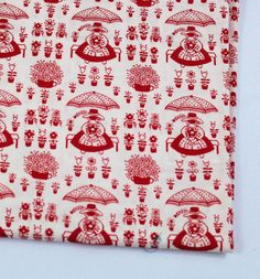 Red and White German Cotton Fabric by QuiltSewPieceful on Etsy