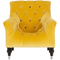 Come take a seat on Mr Bright. He is the happiest chair I have ever seen. Mr Bright Chair from my beloved John Lewis How could you be blue, sitting on his sunshine yellow goodness? John Lewis, Rocking Chair Bois, Decoration Inspiration, Funky Furniture, 1930s Furniture, Shades Of Yellow, Take A Seat, Sofa Chair, Tufted Chair
