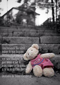 Únicamente los niños saben lo que buscan. Pierden el tiempo con una muñeca de trapo, que viene a ser lo más importante para ellos, y si se la quitan lloran.