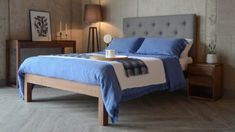 skye bed with blue linen bedding and walnut furniture - all from Natural Bed Company Linen Bedding, Bed Company, Natural Bedding, Contemporary Bed, Painted Beds, Bed, Classic Bedroom, Buttoned Headboard, Upholstered Beds