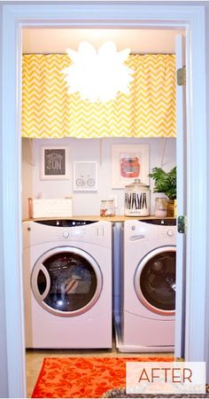 Love The Cute Curtains To Hide Wire Shelving Tiny Laundry Room Makeover Curbly