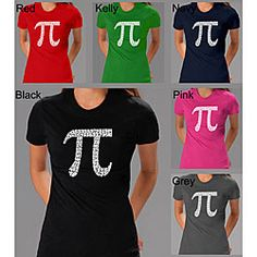 @Overstock - Show your trendy side with a brainy t-shirt Women's clothing is available in black, dark brown, navy blue and dark grey color options Shirt features the 'pi' symbol depicted using the first 100 numbers in pihttp://www.overstock.com/Clothing-Shoes/Los-Angeles-Pop-Art-Womens-Pi-T-shirt/3571066/product.html?CID=214117 $19.99