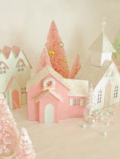 pink & white houses w/ glittery roofs, little wreaths & brush trees w/ pink & green beads - so delicate