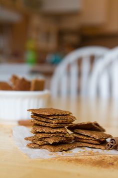 Apple Pie Crackers -  Grain-free flax crackers made with a ground flax and sunflower dough, fresh apple and apple pie spices. Vegan, Gluten-free, Dairy-free, Refined sugar-free, Yeast-free, Corn-free, Grain-free, Nut-free, Egg-free.