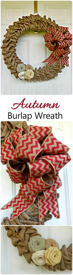 This autumn burlap wreath comes together quickly and makes a lovely door…