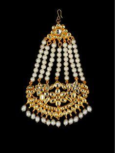 Golden Head Gear with Kundan stones and Pearls - passa