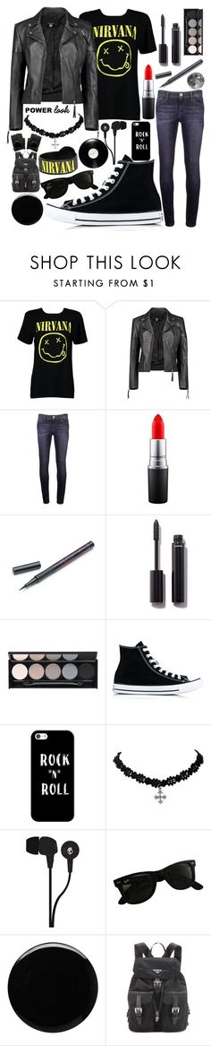 """""""Rocker Style"""" by robinstill68 ❤ liked on Polyvore featuring Boohoo, DL1961 Premium Denim, MAC Cosmetics, Barry M, Chanel, Witchery, Converse, Casetify, Skullcandy and Ray-Ban"""