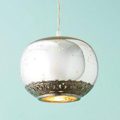 Vintage Glass and Filigree Pendant Light